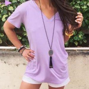 Lavender Piko Short Sleeve Top